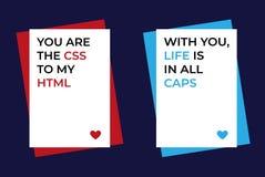 Reeks van 2 grappige de groetkaarten van de Valentijnskaartendag voor nerds, IT ontwikkelaars, HTML-minnaars Gewaagde tekst op wi royalty-vrije illustratie
