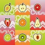 Reeks van grappige fruitdwarsdoorsnede Stock Afbeeldingen