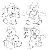 Reeks van grappige Kerstmissneeuwman Kleurend boek Royalty-vrije Stock Afbeelding