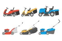 Reeks van grasmaaier vector illustratie