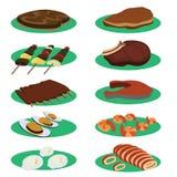 Reeks van Grilllapje vlees en het Menu van de barbecuekeuken Royalty-vrije Stock Foto's