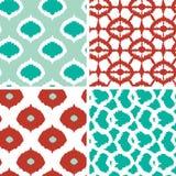 Reeks van groene en rode ikat geometrische naadloos Royalty-vrije Stock Afbeelding