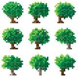 Reeks van groene pixelboom. Stock Afbeeldingen