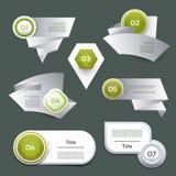 Reeks van groene vectorvooruitgang, versie, stappictogrammen Stock Foto's
