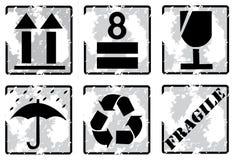 Reeks van grunge breekbaar symbool stock illustratie
