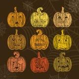 Reeks van Halloween-pompoen met verschillende uitdrukkingen Krijttextu Royalty-vrije Stock Foto