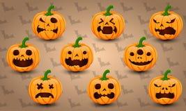 Reeks van 9 Halloween-Pompoenen Stock Afbeeldingen