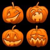 Reeks van 4 Halloween-pompoenlantaarns Stock Afbeeldingen