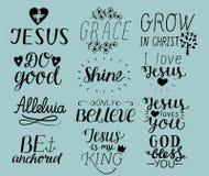 Reeks van Hand 12 die christelijke citaten I liefde Jesus van letters voorzien Gunst De god zegent u Doe goed Groei in Christus w royalty-vrije illustratie