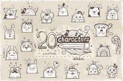 Reeks van 20 hand-drawn karakters in krabbels Stock Foto