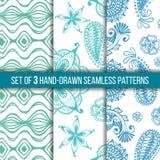 Reeks van 3 hand-drawn naadloze patronen Stock Afbeeldingen