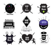 Reeks van Hand - gemaakte embleem, etiketten en ontwerpelementen Stock Foto's