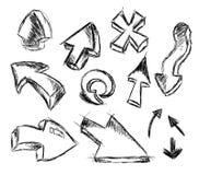Reeks van Hand - gemaakte Schets van Pijlen Stock Afbeeldingen