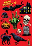 Reeks van handtekening van Halloween-voorwerpen stock illustratie