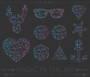 Reeks van hart geometrische kleur hipster shapesd4 Stock Afbeeldingen