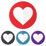 Reeks van hartpictogram op kleurrijke cirkels Vector illustratie royalty-vrije illustratie