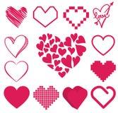 Reeks van hartvector Stock Afbeeldingen