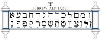 Reeks van Hebreeuws die Alfabet in Torah op witte achtergrond wordt geschreven vector illustratie