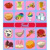 Reeks van heerlijke desserts en gezond voedsel Schets voor vakantiesticker, kaart of partijuitnodiging Duindoorn, honing royalty-vrije illustratie