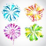Reeks van helder kleurrijk vuurwerk en begroeting royalty-vrije illustratie