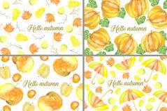 Reeks van 4 hello de herfstkaarten Royalty-vrije Stock Afbeeldingen