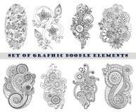 Reeks van Henna Paisley Mehndi Doodle Element Stock Fotografie