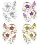 Reeks van Henna Paisley Mehndi Vector Element. Stock Afbeeldingen
