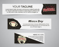 Reeks van het Amerikaanse malplaatje van de voetbalbanner met voetbalembleem, etiket en kenteken Modieus helder identiteitsontwer Stock Fotografie