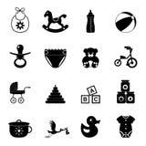 Reeks van het baby de eenvoudige pictogram Stock Afbeeldingen