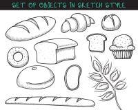 Reeks van het baksel van het 10 krabbelbrood Schetsbrood Krabbelbaguette Stock Afbeelding