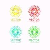 Reeks van het bedrijfs de geometrische kleurrijke embleemmalplaatje Royalty-vrije Stock Fotografie