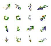 Reeks van het bedrijfs pijlembleem pictogrammen Stock Foto