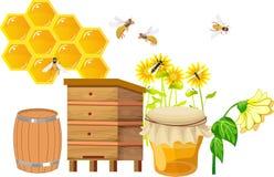 Reeks van het beekebing van themapunten, bijenkorven, stock illustratie