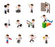 Reeks van het beeldverhaal van het zakenmankarakter Stock Fotografie