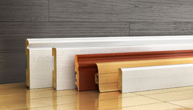 Reeks van het begrenzen van verschillende vorm op een houten achtergrond 3D illustra Stock Fotografie