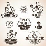 Reeks van het bestrijden van clubemblemen, MMA, het in dozen doen Stock Afbeeldingen