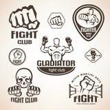 Reeks van het bestrijden van clubemblemen, MMA, het in dozen doen Royalty-vrije Stock Foto