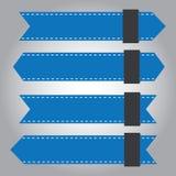 Reeks van het blauwe pictogram van de lintbanner stock afbeeldingen