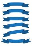 Reeks van het blauwe pictogram van de lintbanner royalty-vrije stock foto's