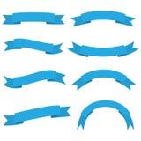 Reeks van het blauwe pictogram van de lintbanner royalty-vrije stock afbeelding