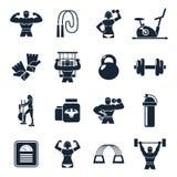 Reeks van het Bodybuildings de Zwarte Pictogram stock illustratie