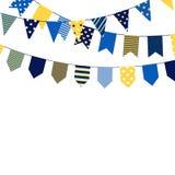 Reeks van het bounting van vlaggen Decoratieve elementen op witte achtergrond Inzameling voor de kaarten van de verjaardagsgroet  vector illustratie