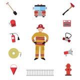 Reeks van het brandbestrijders de vectorpictogram Royalty-vrije Stock Afbeeldingen