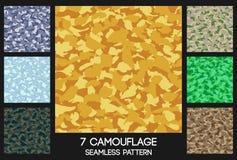 Reeks van het camouflage de naadloze patroon stock illustratie