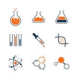 Reeks van het chemie de eenvoudige vectorpictogram Stock Foto
