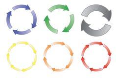 Reeks van het cirkelen van pijlen Stock Foto