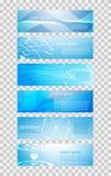 Reeks van het concepten blauwe zwarte hallo technologie F van de 6 banner abstracte technologie Royalty-vrije Illustratie