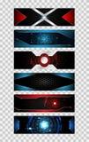 Reeks van het concepten metaal hallo technologie van de 6 banner abstracte technologie fut Royalty-vrije Stock Afbeeldingen