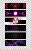 Reeks van het concepten metaal hallo technologie van de 6 banner abstracte technologie fut Royalty-vrije Illustratie