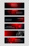 Reeks van het concepten rode zwarte hallo technologie van de 6 banner abstracte technologie fu Stock Illustratie